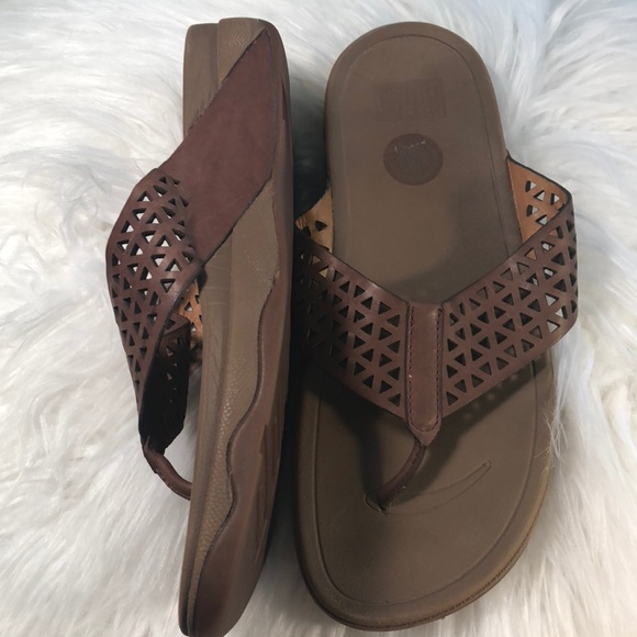 00136b220e7f3c Fitflop Shoes - Vguc Fitflop brown leather laser cut sandals